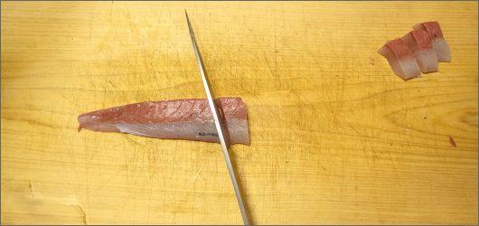 ぶつ切りにして刺身